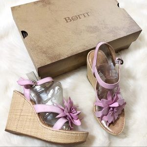 •Born Sandal Pink Flower Wedges•